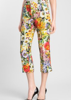 Dolce&Gabbana Slim Floral Print Brocade Crop Pants