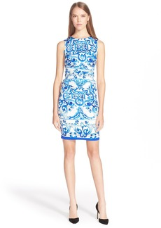 Dolce&Gabbana Tile Print Ruched Charmeuse Dress