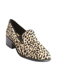 Dolce Vita black and brown leopard print calf hair heel loafers