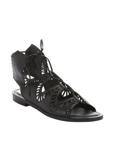 Dolce Vita black laser-cut leather 'Deklon' gladiator sandals