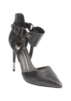 Dolce Vita black snake embossed leather 'Knoxx' d'orsay anklestrap pumps