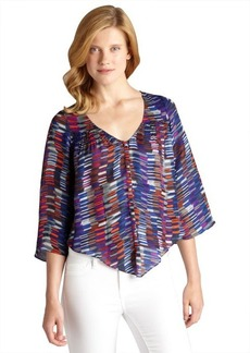 Dolce Vita blue dash print silk 'Alejandra' long bell sleeve blouse