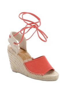 Dolce Vita coral leather and canvas 'Sophia' espadrille wedges