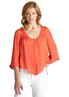 Dolce Vita coral silk 'Alejandra' long bell sleeve blouse