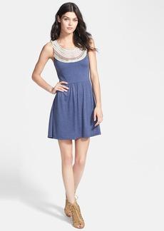 Dolce Vita Embroidered Neck Lace-Up Back Jersey Dress