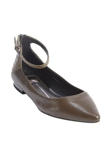 Dolce Vita olive leather 'Angie' ankle strap flats