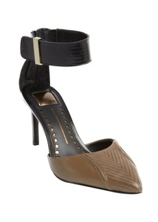 Dolce Vita olive textured leather anklestrap d'orsay pumps