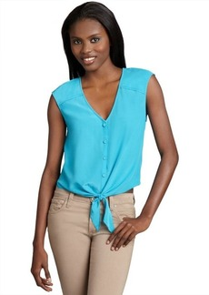 Dolce Vita verdigris silk button down tied 'Keriann' cropped blouse