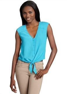 Dolce Vita verdigris silk button down tied 'Keriann' cropped blouse