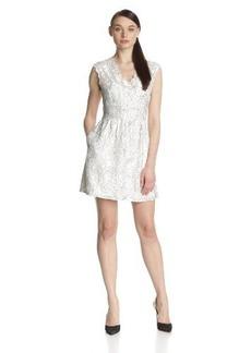 Dolce Vita Women's Kendelle Embroidery V-Back Capsleeve Flared Dress