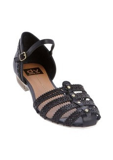 DV by Dolce Vita black perforated detail leather 'Ebony' sandals