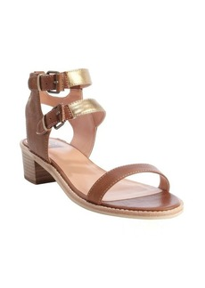 DV by Dolce Vita cognac and gold leather 'Zinc' double buckle sandals