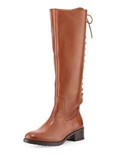 Donald J Pliner Baude Lace-Up Back Leather Knee Boot, Saddle