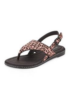Donald J Pliner Gal Leopard-Print Calf Hair Thong Sandal, Pink