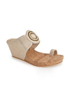 Donald J Pliner 'Gaya' Lizard Embossed Leather Toe Loop Wedge (Women)