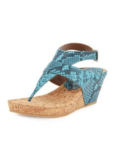 Donald J Pliner Gilee Snake-Embossed Leather Wedge Sandal, Turquoise