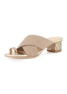Donald J Pliner Mara Metallic Toe-Ring Sandal, Platino/Natural