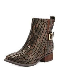 Donald J Pliner Plata Crocodile-Print Leather Boots, Bronze