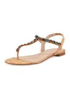 Donald J Pliner Trivit Bejeweled Cork Thong Sandal