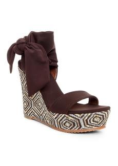 Donald J Pliner Wedge Platform Sandals - Nela Beaded Crepe Tie
