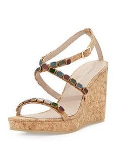 Donald J Pliner Wondra Jeweled Cork Wedge Sandal, Natural
