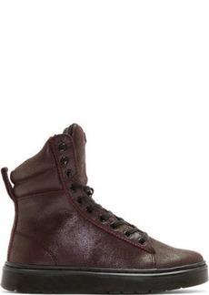 Dr. Martens Maroon Crackle Suede High-Top Sneakers