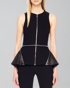 Michael Kors Zip-Detail Peplum Top
