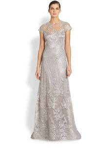 Teri Jon Metallic Embroidered-Lace Gown