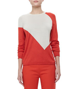 Crewneck Colorblock Sweater, Red/Chamois   Crewneck Colorblock Sweater, Red/Chamois