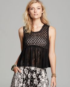 Free People Top - Shedder Lace Varsity Peplum
