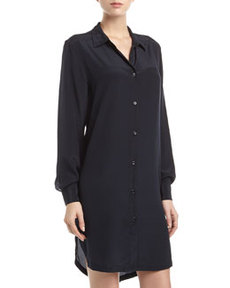 Paper Denim & Cloth Georgette Button-Front Shirt-Dress, Black
