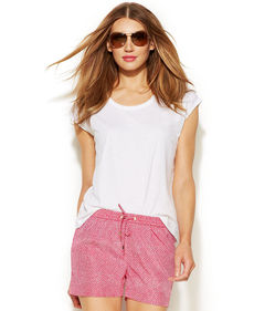MICHAEL Michael Kors Cap-Sleeve High-Low Tee