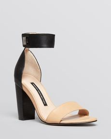 FRENCH CONNECTION Open Toe Sandals - Katrin Block Heel