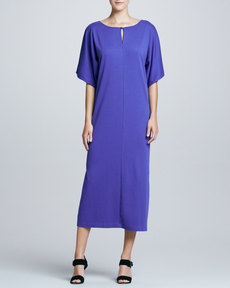 Joan Vass Keyhole-Front Long Dolman Dress, Petite