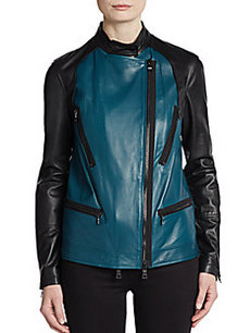 Robert Rodriguez Colorblock-Front Leather Moto Jacket