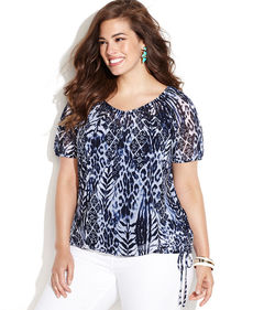 INC International Concepts Plus Size Short-Sleeve Printed Peasant Top
