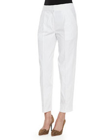 Rebecca Taylor Pleated Poplin Cropped Easy Pants