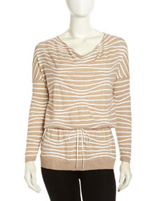 Lafayette 148 New York Long-Sleeve Striped Woven Sweater, Pumice Multi