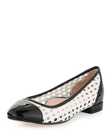 Taryn Rose Beatriz Woven Cap-Toe Ballerina Flat, White/Black