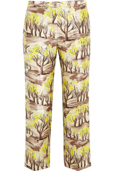 Marni Printed satin-twill straight-leg pants
