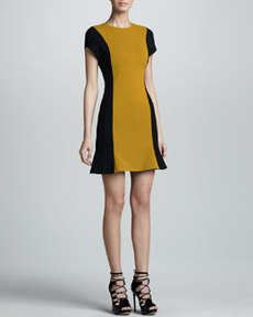 JASON WU Colorblock Wool Crepe Dress, Gold/Black