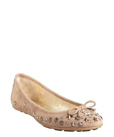 Jimmy Choo khaki suede star studded crystal 'Willow' ballet flats