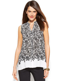 Alfani Petite Lace-Print High-Low Blouse