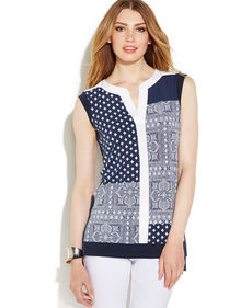 Alfani Petite Sleeveless Patchwork Tunic