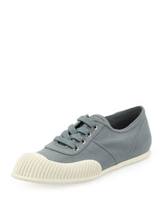 Gabardine Lace-Up Sneaker, Gray   Gabardine Lace-Up Sneaker, Gray