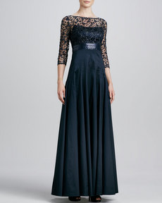 Kay Unger New York Lace/Sequin-Bodice Gown