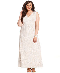 Charter Club Plus Size Sleeveless Paisley-Print Maxi Dress