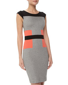 French Connection Manhattan Colorblock Jersey Sheath Dress, Gray Speckled Melange/Black/Holiday Crush