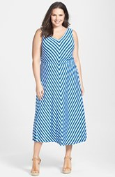 Calvin Klein Miter Stripe Maxi Dress (Plus Size)