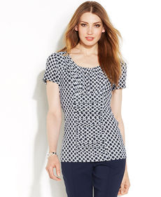 Alfani Petite Diamond-Print Ruched Top